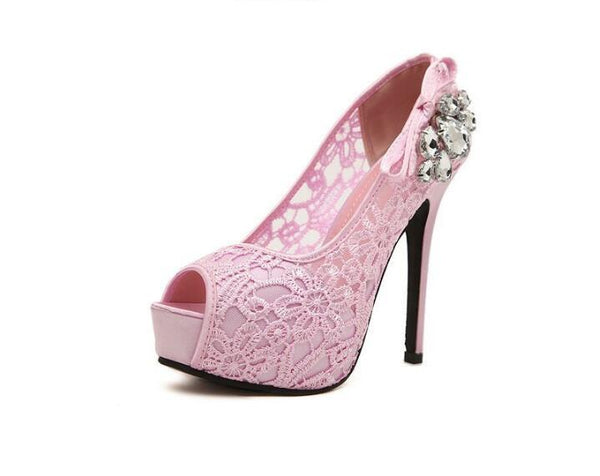 Hand Made High Heels Fish Toe Lace Sexy Wedding Bridal Shoes, S037