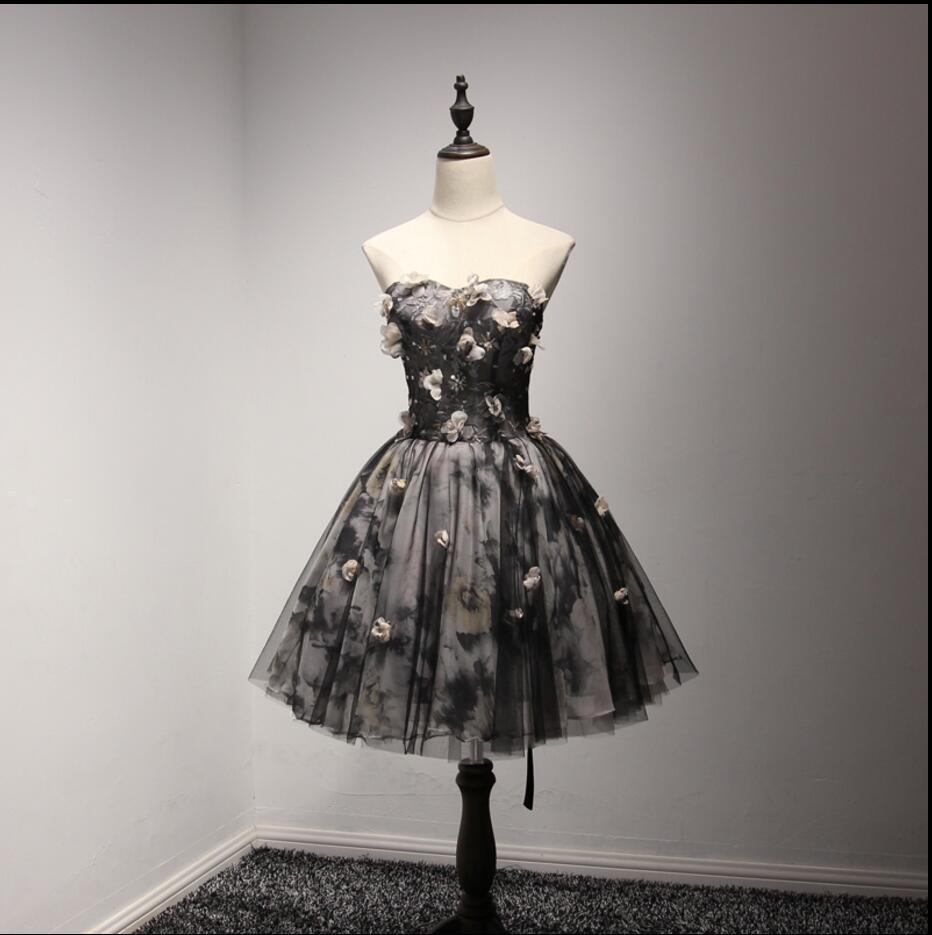 Handmade Flower Black Homecoming Prom Dresses, Little Black Dress,  Short Party Prom Dresses, Perfect Homecoming Dresses, CM208