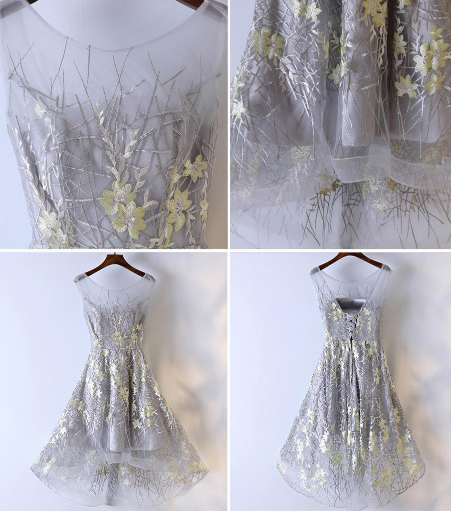 High Low Grey Yellow Lace Homecoming Prom Dresses, Affordable Corset Back Short Party Prom Dresses, Perfect Homecoming Dresses, CM256