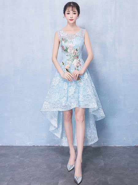 High Low Light Blue Lace Cheap Homecoming Dresses Online, CM697