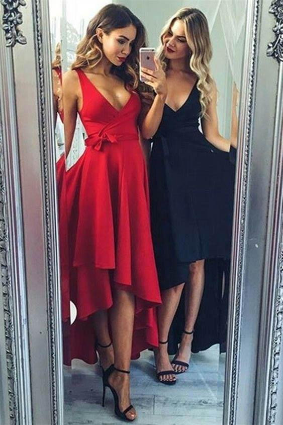 High Low V Neck Simple Cute Red Homecoming Dresses 2018, CM560