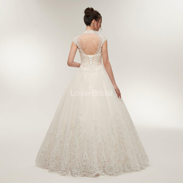 High Neck A-line Lace Beaded Cheap Wedding Dresses Online, Cheap Bridal Dresses, WD569
