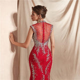 High Neck Red Heavily Beaded Mermaid Evening Prom Dresses, Evening Party Prom Dresses, 12071