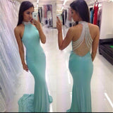 High Neck Tiffany Blue Sexy Open Back Mermaid Long Party Prom Dress, 2017 Cheap Prom Dresses,PD0030