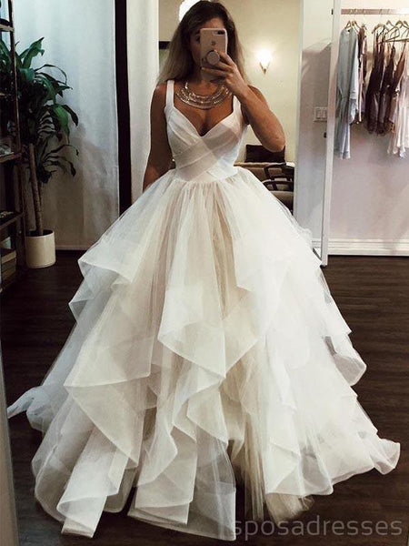 Ivory Thick Organza Straps Ball Gwon Wedding Dresses Online, Cheap A-line Bridal Dresses, WD466