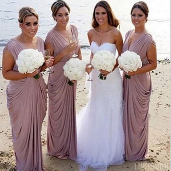 Jersey V Neck Long Charming Beach Wedding Bridesmaid Dresses, WG347