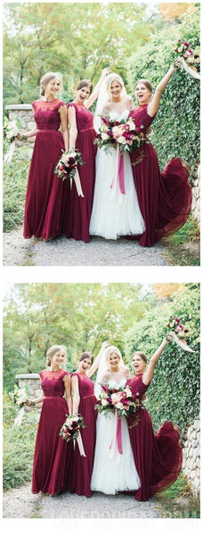 Jewel Cap Sleeves Dark Red Chiffon Floor Length Cheap Bridesmaid Dresses Online, WG560