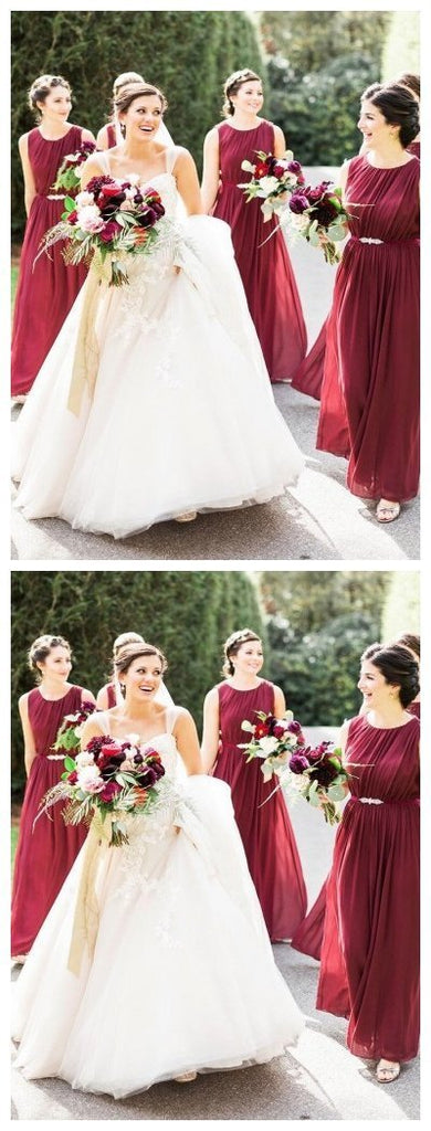 Jewel Dark Red Chiffon Cheap Long Cheap Bridesmaid Dresses Online, WG618