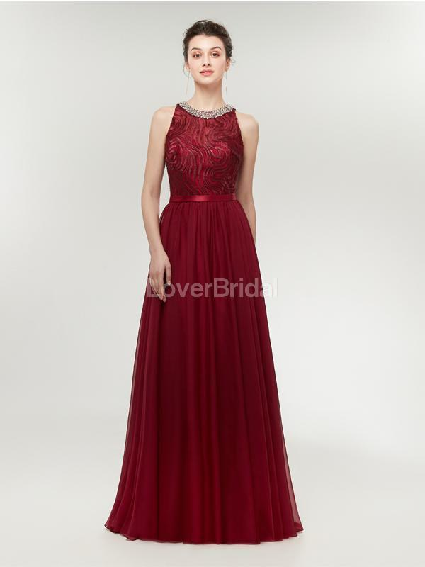 Jewel Red Beaded Cheap Long Evening Prom Dresses, Evening Party Prom Dresses, 12002