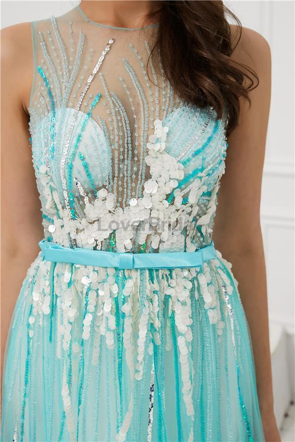Jewel See Through Beaded Sexy Evening Prom Dresses, Evening Party Prom Dresses, 12083
