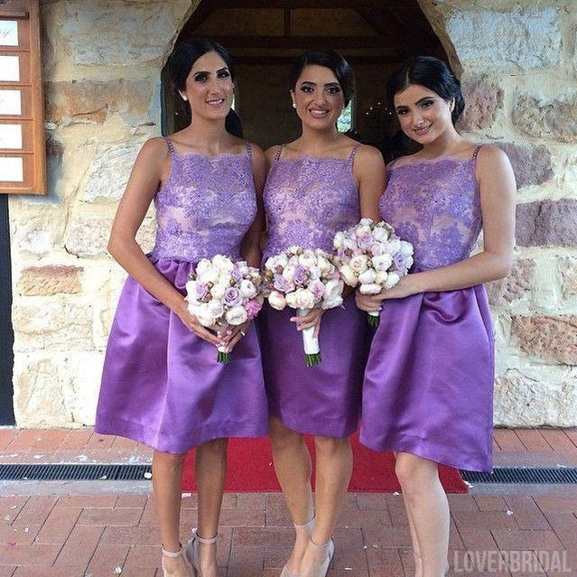 Junior Lace Top Knee Length Cheap Wedding Bridesmaid Dresses, WG354