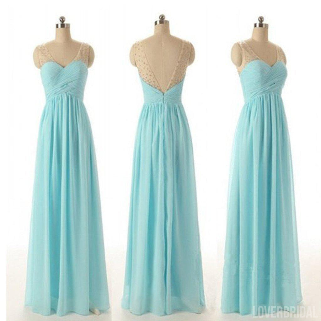 Junior Off Shouler V-neck Blue Chiffon Formal A Line Floor-Length Wedding Party Dresses for Bridesmaid, WG56