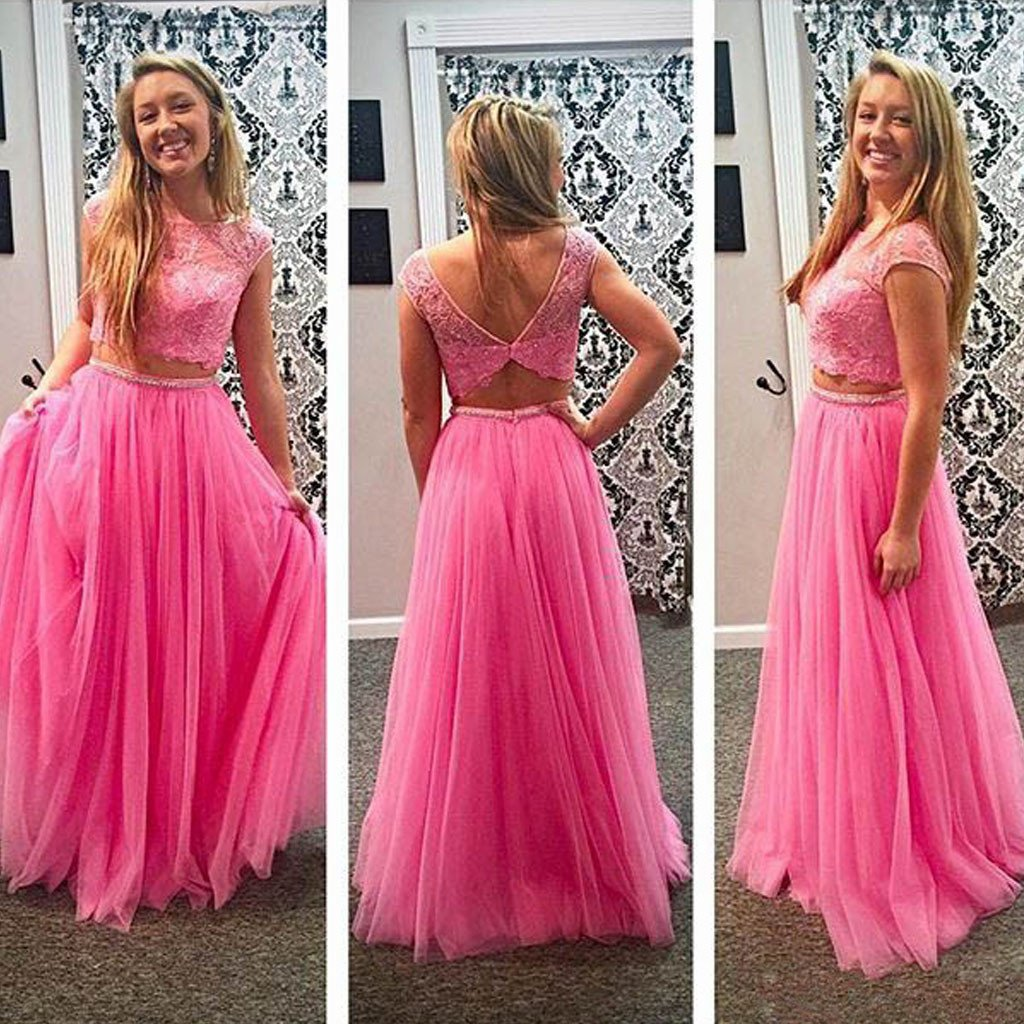 Junior Pretty Two Pieces Lace Pink Tulle Open Back Formal Cheap Long Prom Dresses, WG256