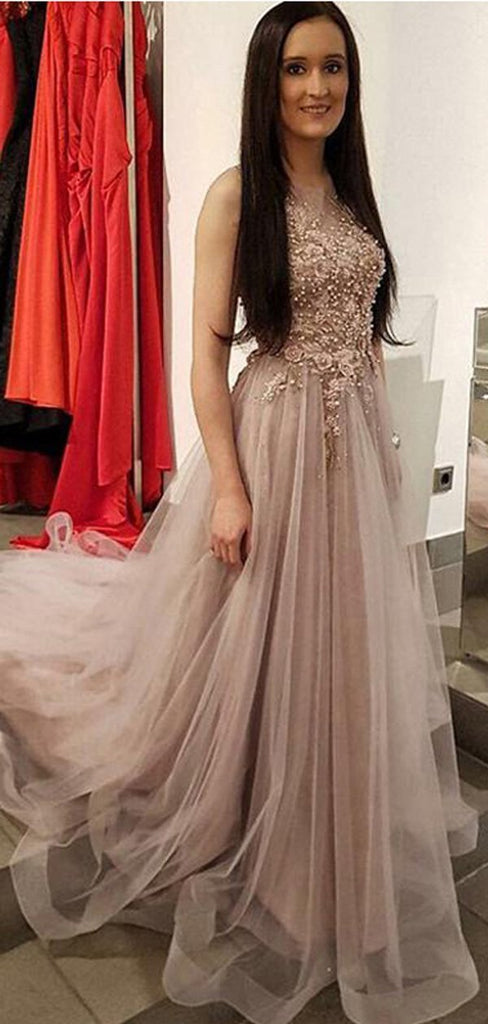 Lace Beaded Jewel Neck Cheap Long Evening Prom Dresses, Cheap Sweet 16 Dresses, 18372