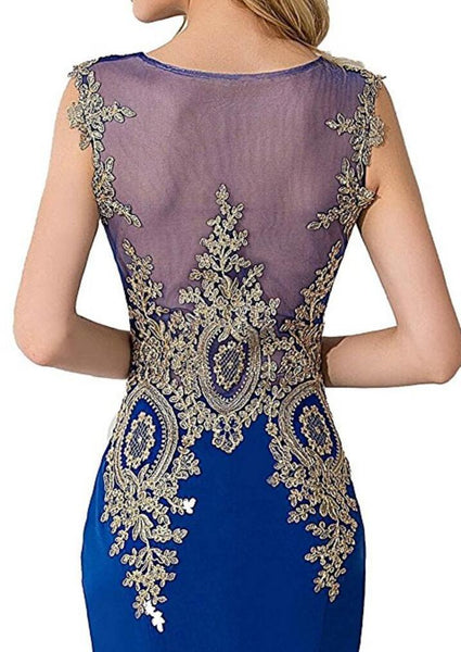 Lace Blue See Through Mermaid Long Evening Prom Dresses, 17527