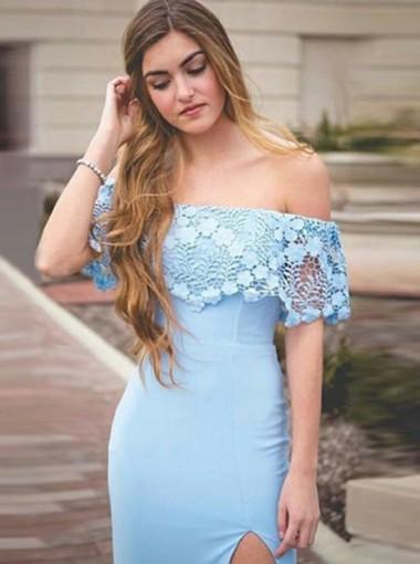 Lace Off Shoulder Side Slit Blue Mermaid Long Evening Prom Dresses, 17632