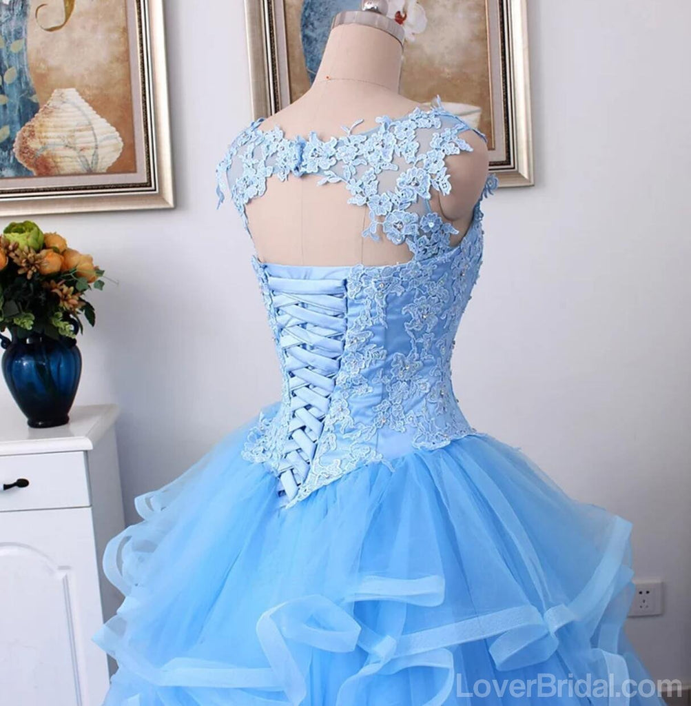 Lace Straps Blue Ball Gown Long Evening Prom Dresses, Cheap Custom Sweet 16 Dresses, 18543