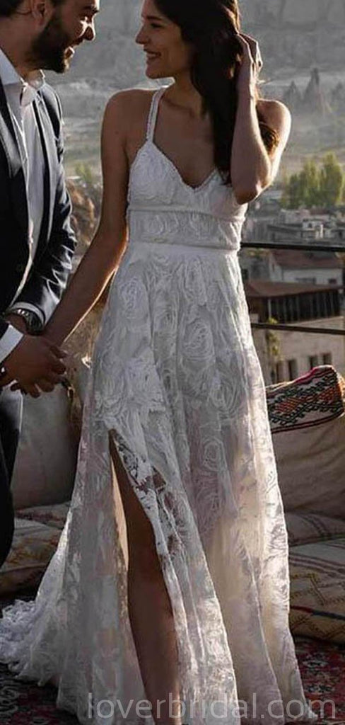 Lace Straps Side Slit Lace Cheap Wedding Dresses Online, Cheap Bridal Dresses, WD522