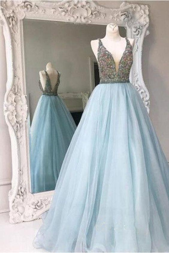 Light Blue Backless A line Evening Prom Dresses, Sexy Deep V neckline Party Prom Dress, Custom Long Prom Dresses, Cheap Formal Prom Dresses, 17048