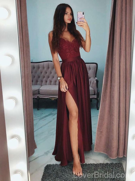 Light Blue Spaghetti Straps Side Slit Long Evening Prom Dresses, Cheap Custom Sweet 16 Dresses, 18550
