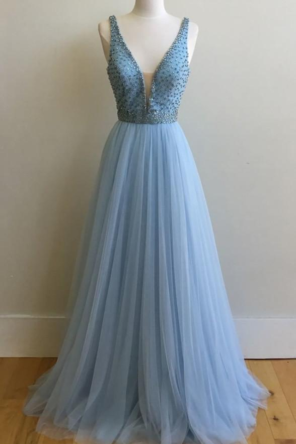 Light Blue V Neck Beaded A-line Long Evening Prom Dresses, 17642