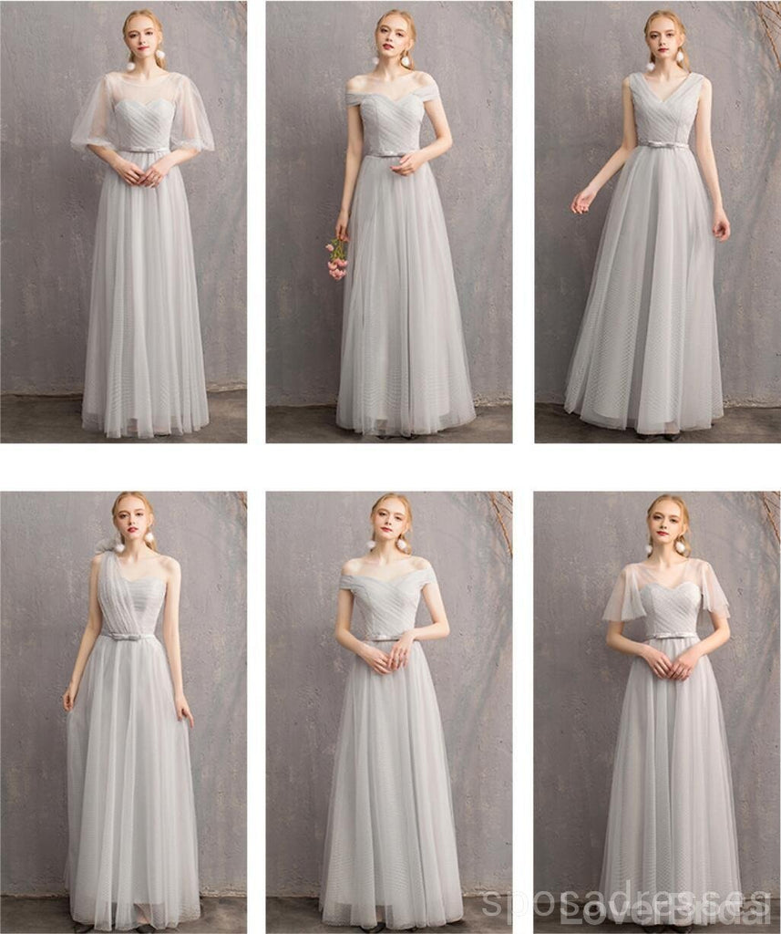 Light Gray Floor Length Mismatched Cheap Bridesmaid Dresses Online, WG545