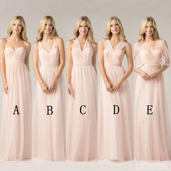 Long Chiffon Blush Pink Convertible Bridesmaid Dresses, Cheap Custom 2018 Bridesmaid Dresses, Cheap Bridesmaid Gown, WG151