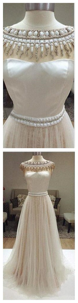 Long Ivory Prom Dresses, Charming Beaded Wedding Dresses, Tulle Prom Dresses, WD0126