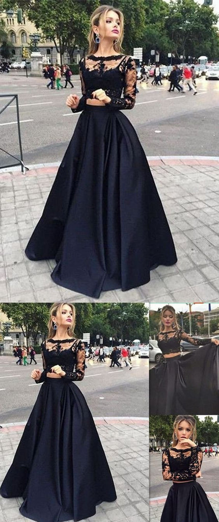 Long Prom Dress ,Black Prom Dress,Prom Dress With Lace ,Long Sleeve Prom Dress ,Elegant Prom Dress,Custom Prom Dress,Party Dresses,Evening Dresses,PD0045