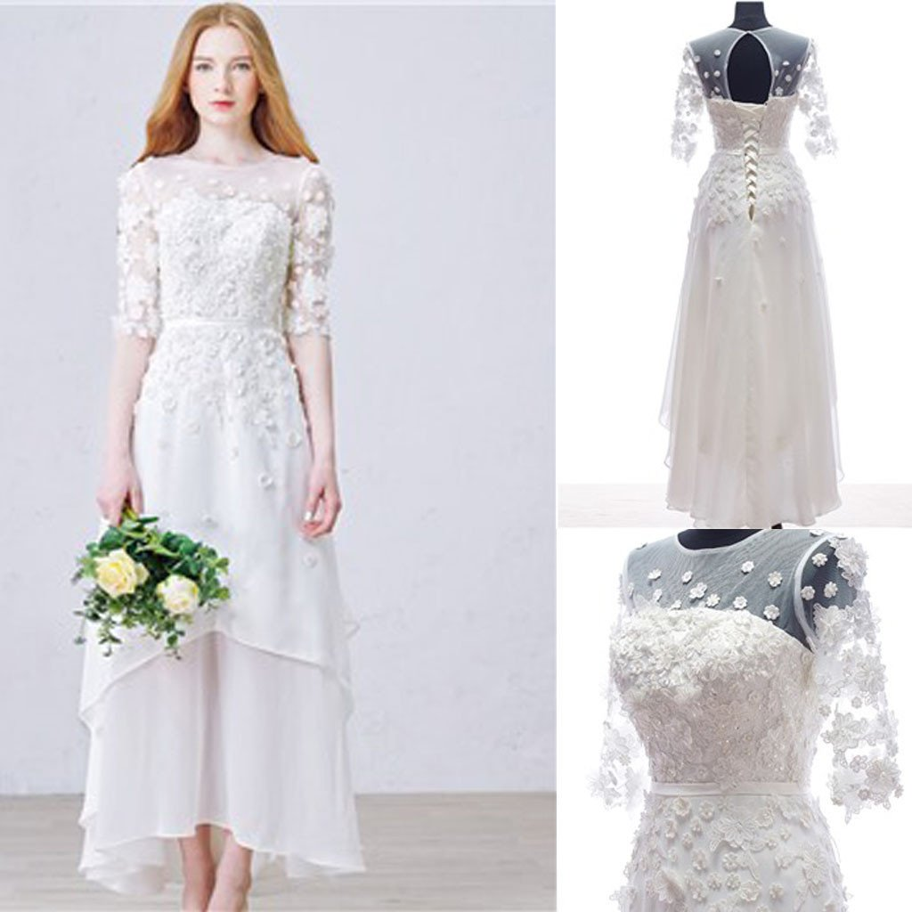 Long Sheath Scoop Half Sleeve Open Back Lace Up Wedding Dresses With Appliques, WD0146