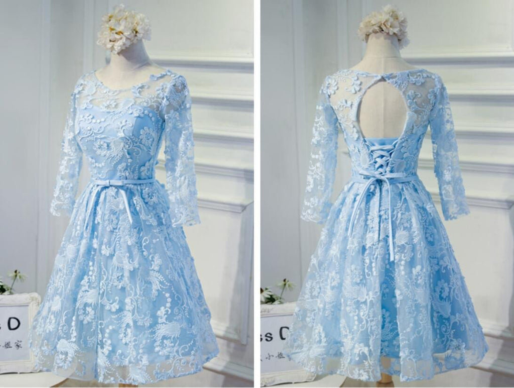 Long Sleeve Blue Open back Lace Cute Homecoming Prom Dresses, Affordable Short Party Prom Dresses, Perfect Homecoming Dresses, CM314