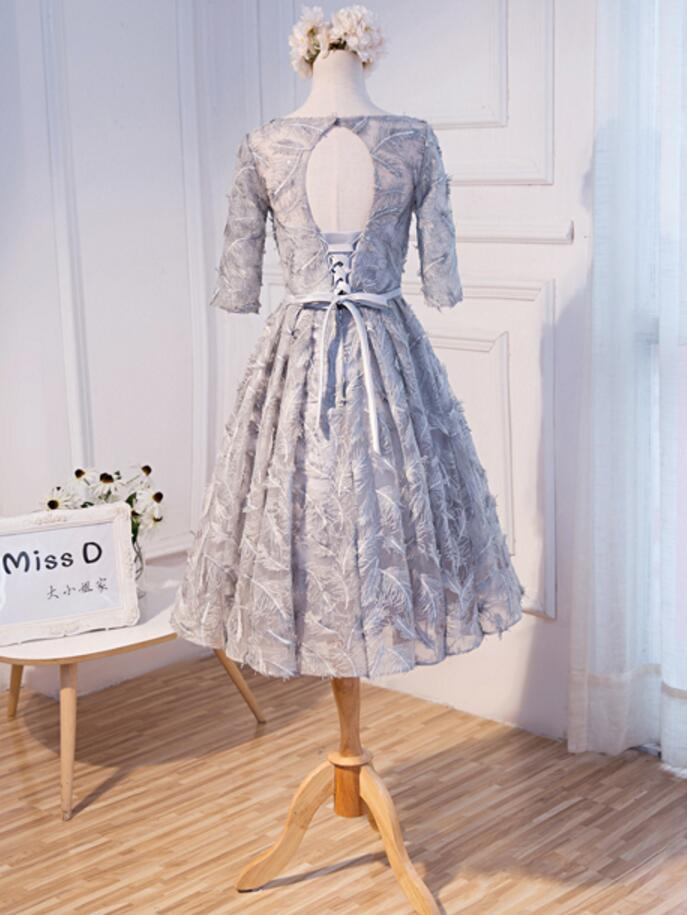 Long Sleeve Gray Lace Scoop Neckline Homecoming Prom Dresses, Affordable Short Party Prom Dresses, Perfect Homecoming Dresses, CM273