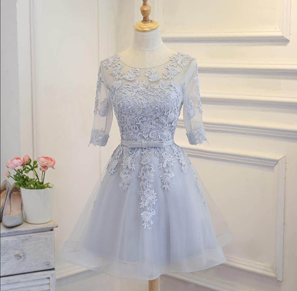 Long Sleeve Grey Lace Cheap Short Homecoming Dresses Online, CM670