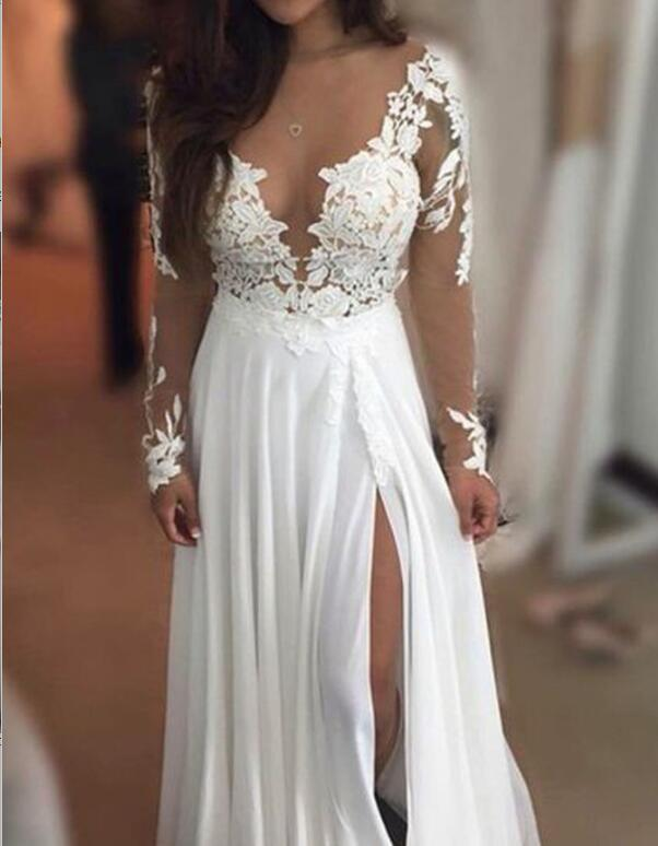Long Sleeve Lace Beach Wedding Dresses, 2017 See Through Chiffon Wedding Gown, Affordable Bridal Dresses, 17088