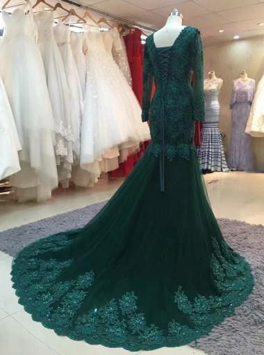 Long Sleeve Lace Mermaid Emerald Green Long Evening Prom Dresses, 17630
