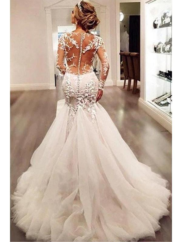 Long Sleeve Lace Mermaid Wedding Dresses, Sexy See Through Long
