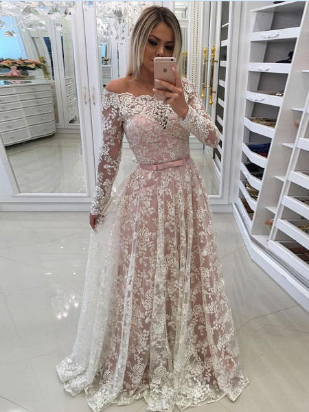 Long Sleeve Lace Off Shoulder A Line Long Custom Evening Prom Dresses, 17435