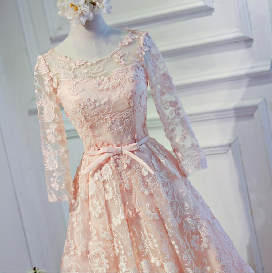 Long Sleeve Light Peach Open back Lace Cute Homecoming Prom Dresses, Affordable Short Party Prom Dresses, Perfect Homecoming Dresses, CM317