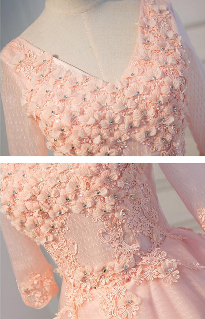 Long Sleeve Light Peach Open Back See Through Lace Cute Homecoming Prom Dresses, Affordable Short Party Prom Dresses, Perfect Homecoming Dresses, CM318