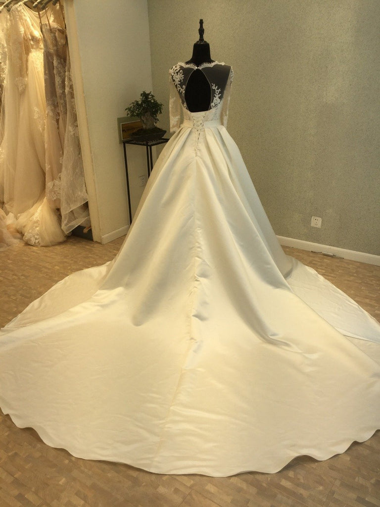 Long Sleeve Open Back Scoop A line See Through Lace Wedding Bridal Dresses, Custom Made Wedding Dresses, Affordable Wedding Bridal Gowns, WD245