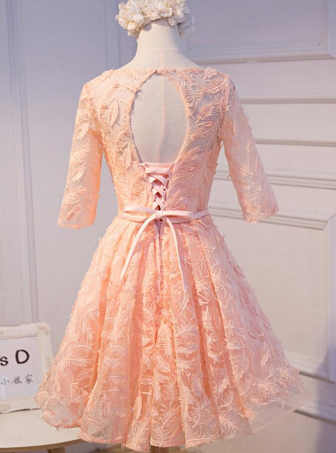 Long Sleeve Peach Open back Lace Cute Homecoming Prom Dresses, Affordable Short Party Prom Dresses, Perfect Homecoming Dresses, CM316