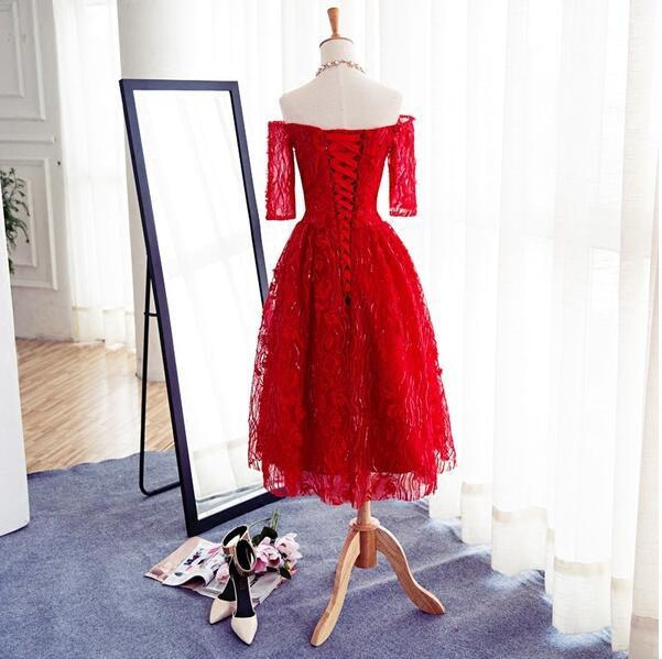 Long Sleeve Red Lace Beaded Homecoming Prom Dresses, Affordable Short Party Prom Dresses, Perfect Homecoming Dresses, CM266