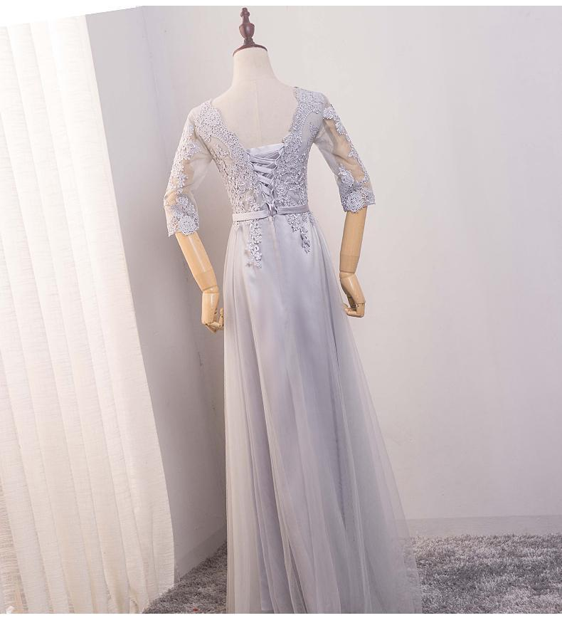 Long Sleeve Scoop Neckline Gray Lace Evening Prom Dresses, Popular Lace Party Prom Dresses, Custom Long Prom Dresses, Cheap Formal Prom Dresses, 17184