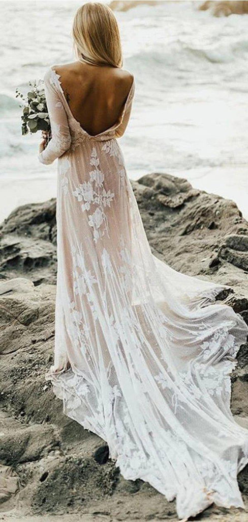 Long Sleeves Backless Lace Boho Wedding Dresses, Cheap Wedding Gown, WD688