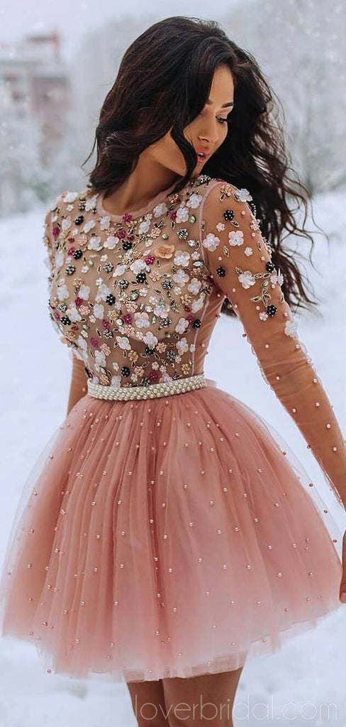 Long Sleeves Beaded Peach Homecoming Dresses Online, Cheap Short Prom Dresses, CM749