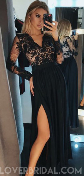Long Sleeves Black Side Slit Long Evening Prom Dresses, Cheap Custom Sweet 16 Dresses, 18475