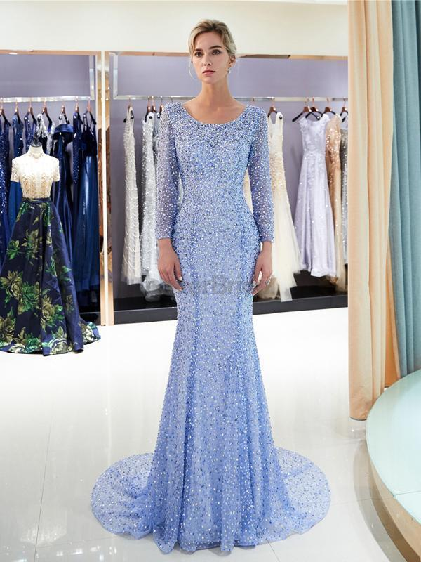 Long Sleeves Blue Heavily Beaded Mermaid Evening Prom Dresses, Evening Party Prom Dresses, 12057