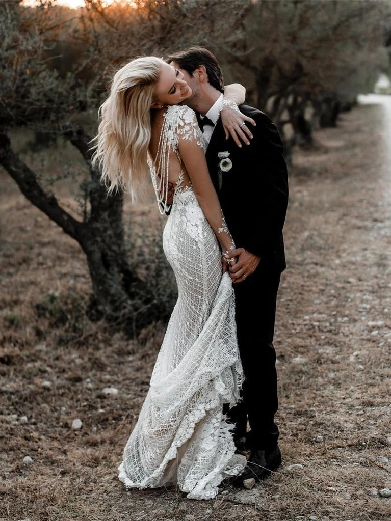 Long Sleeves Boho Lace Mermaid Wedding Dresses, Sexy Wedding Gown, WD681