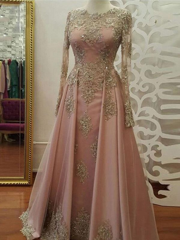 Long Sleeves Gold Lace Beaded Pink Skirt Long Evening Prom Dresses, Cheap Sweet 16 Dresses, 18357