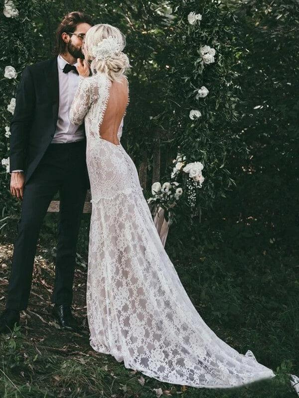 Long Sleeves High Neck Backless Lace Boho Wedding Dresses, Mermaid Wedding Gown, WD704